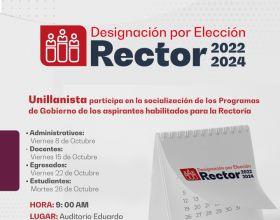 Calendario de socialización de los programas de gobierno de los aspirantes habilitados para la Rectoría