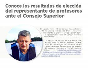 Conoce los resultados de elección del representante de profesores antes el Consejo Superior