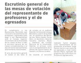 Escrutinio general de las mesas de votación del representante de profesores y el de egresados